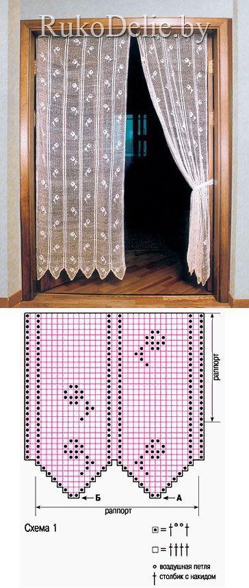 Комплект занавесок, выполненный филейной вязкой
