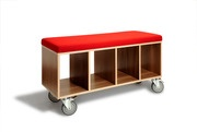 Walnut Bench Box w/Casters and Red Wool Upholstery by Eric Pfeiffer for