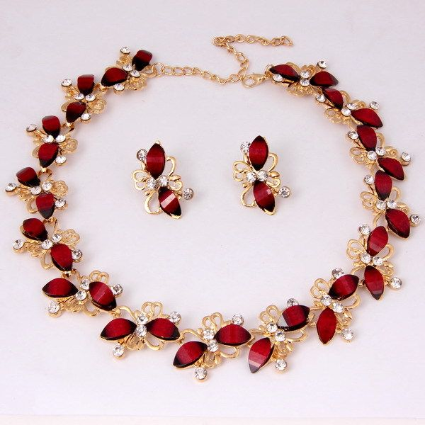 Find More Jewelry Sets Information About Wholesale Fashion Butterfly Design Gold Plated Resin Set African