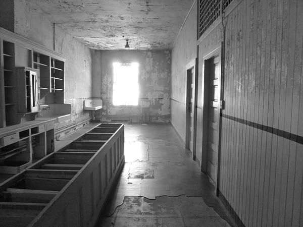 A black and white image depicting one of the rooms inside the hospital ward in Alcatraz prison. Want this picture printed on canvas or cards etc? Click on the image :)