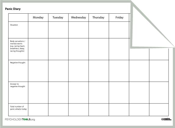 cbt printable worksheets for panic and anxiety