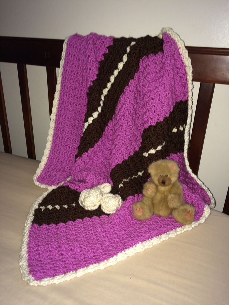 Ready to Ship - Crochet baby/toddler blanket afghan. Purple, brown and cream. Perfect for car seat, crib, pram or Moses blanket. Ideal baby by YarnYayness on Etsy https://www.etsy.com/listing/451389016/ready-to-ship-crochet-babytoddler