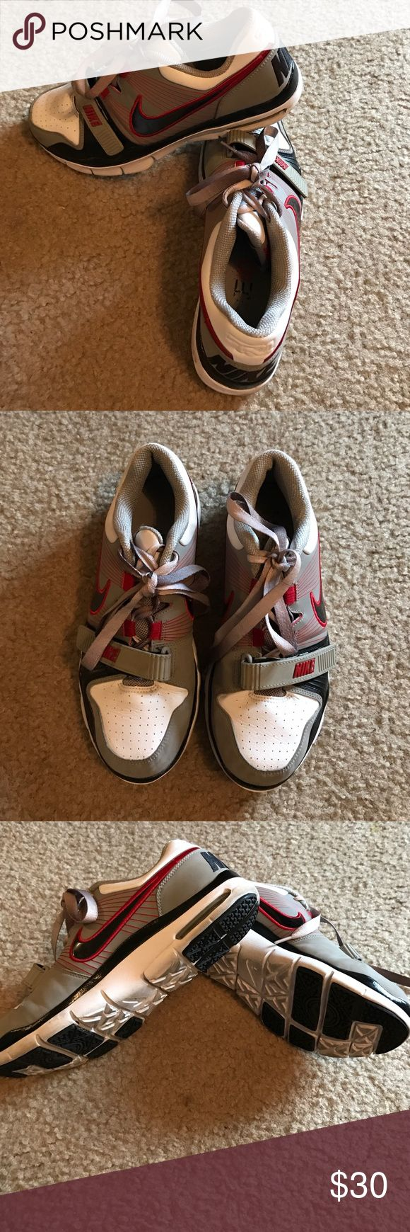 NIKE ID's: custom designed nike id's these nikes were customed deaigned. velcro strap to secure laces. red. black. grey and white. EUC. great for lifting or street style. Nike Shoes Athletic Shoes