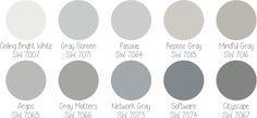 paleta Sherwin-Williams 50 tons de cinza