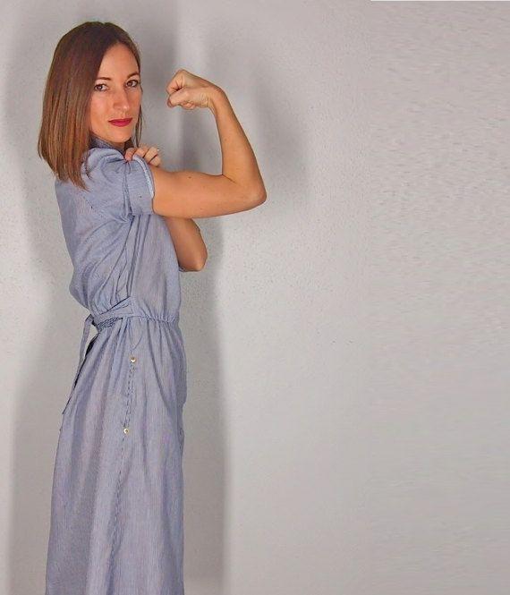 Rosie the Riviter Vintage Dress Denim Shift by EleanorsAntiquities