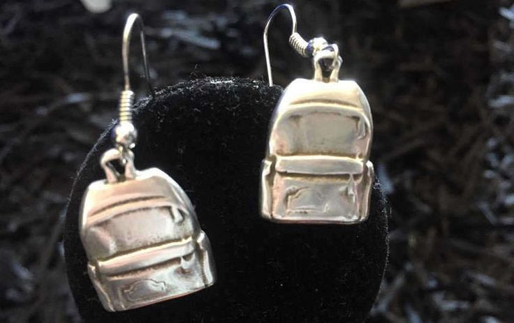 Silver plated backpack earrings, school earrings, university jewelry by pacforme on Etsy
