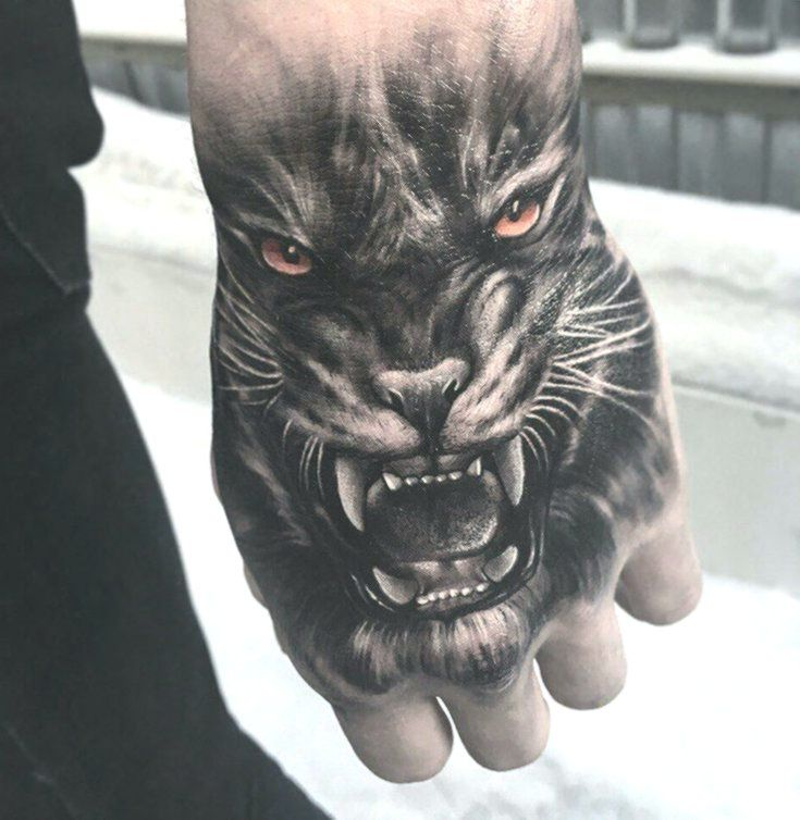 Snarling Tiger Hand Tattoo Tiger Hand Tattoo Hand Tattoos Tattoos