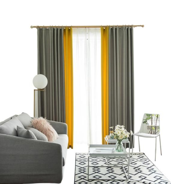 One Piece Gradiant Grey Yellow Orange Pink Curtain Good Etsy