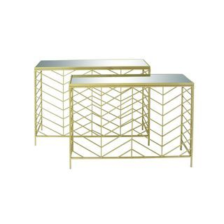 Metal Glass Console Table (Set of 2) | Overstock.com Shopping - The Best Deals on Coffee, Sofa & End Tables