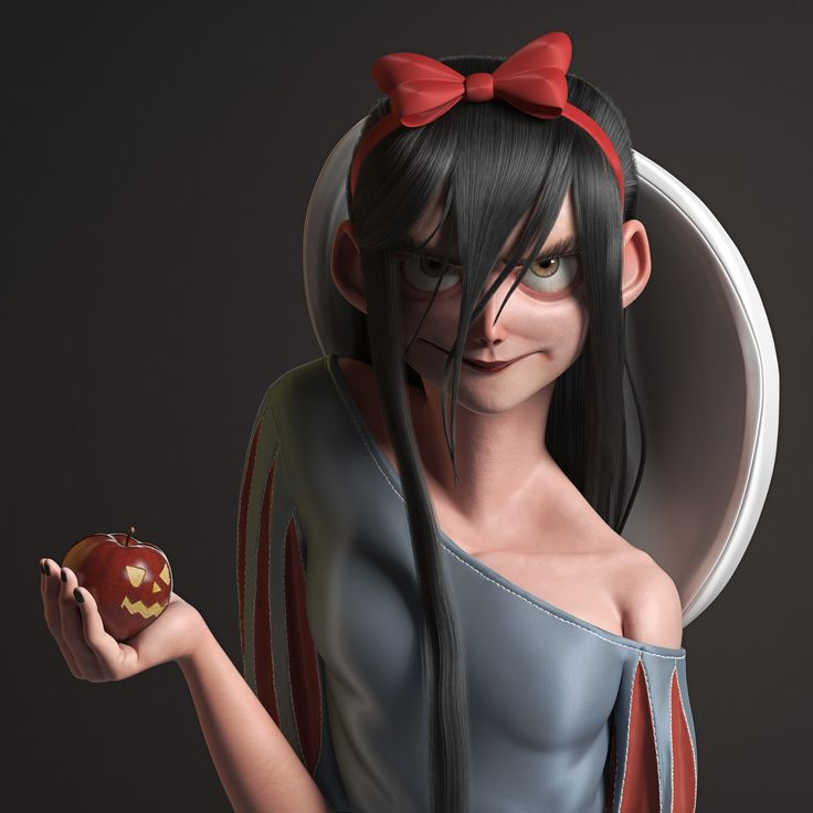 Snow White - Happy Halloween, Gilberto Ribeiro on ArtStation at https://www.artstation.com/artwork/kObbA
