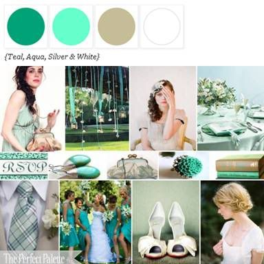Teal, Aqua, Silver + White via The Perfect Palette Library. xo