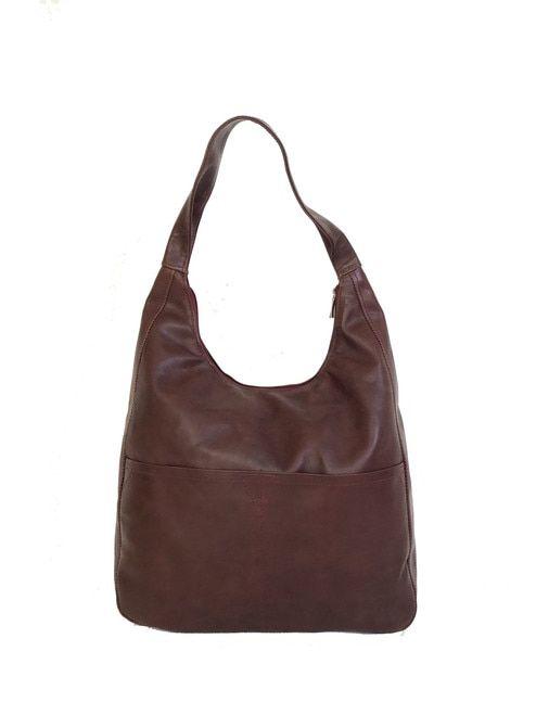 a50a0f1dfd Mahogany Leather Hobo Bag w  Pockets