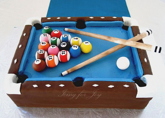 Pool table cake for groom's cake by Icing for Joy, via Flickr
