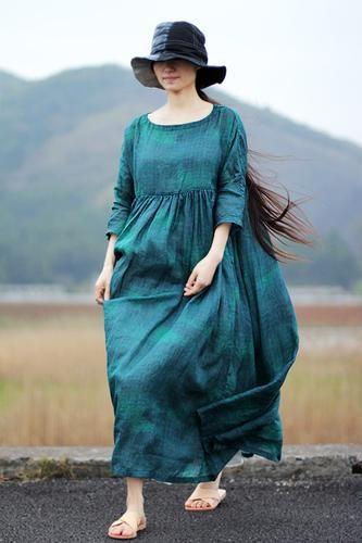 Loose ramie dress