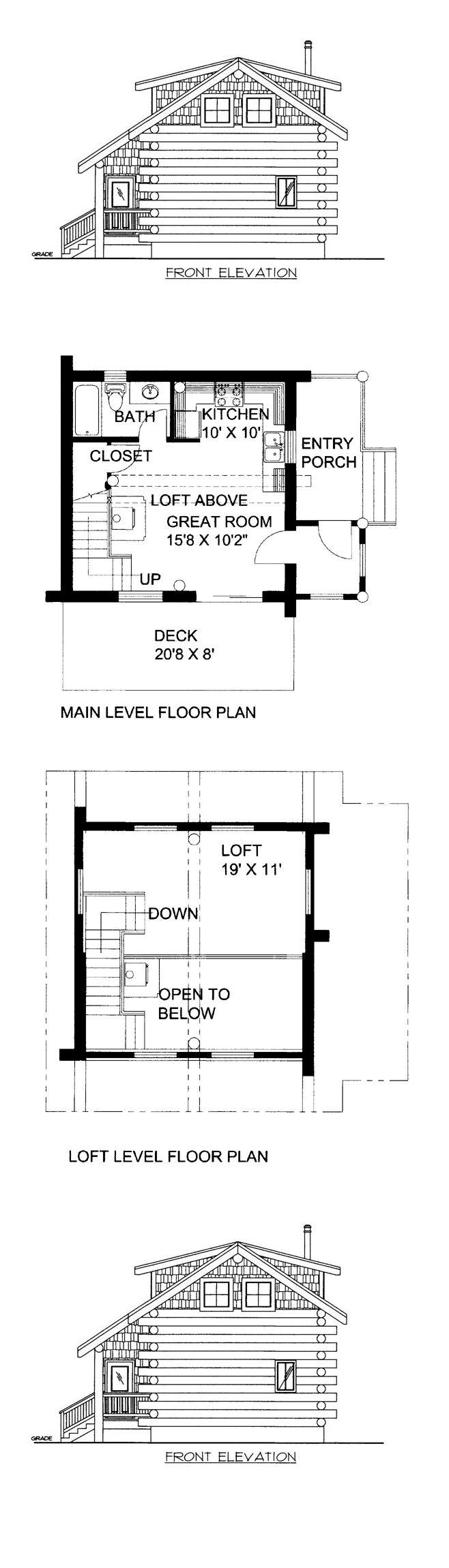 Bachelor 484 sq ft log home kit log cabin kit mountain ridge - Log Home Plan 87143 Total Living Area 640 Sq Ft With One