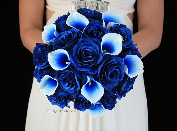 Royal blue Picasso calla lily and royal blue rose brides bouquet wedding flowers
