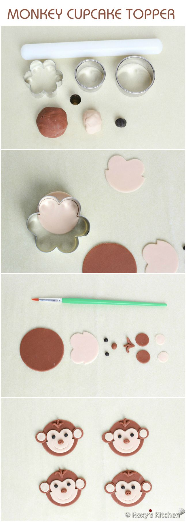 Step By Step Tutorial On How To Make a Sugarpaste Monkey Cupcake Topper.