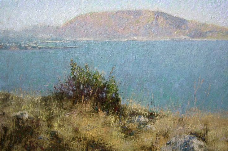 """""""Sicilia at morning""""  - painting made in Italy, 2009. Oil on canvas on hardboard."""
