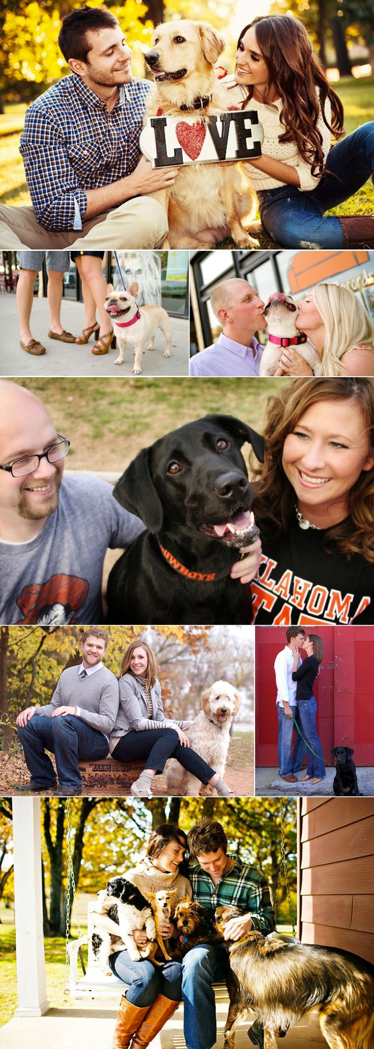 "Can't stop ""awww-ing"" over these adorable shots of couples with their precious pooches. #wedding #engagement #dog #puppy #cutecouple"