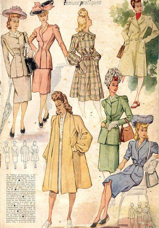 Le Petit Echo de la Mode, 1943. coats and outerwear. 1940s fashion illustration, ads.