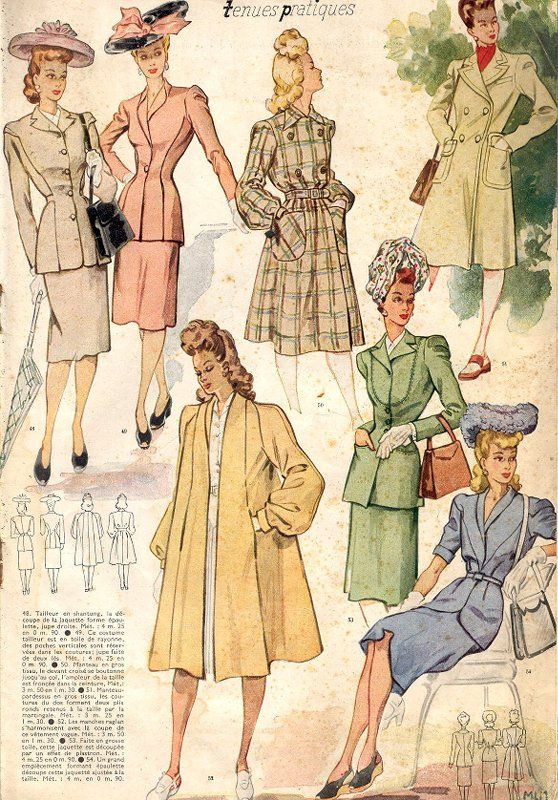 Le Petit Echo de la Mode, 1943. coats and outerwear. 1940s fashion illustration, ads.