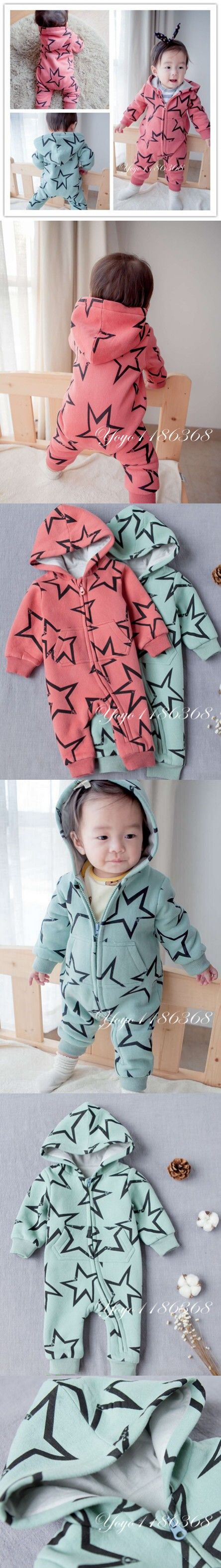 Baby Rompers Winter Thick Climbing Clothes Newborn Boys Girls Warm Romper cotton star printed Hooded Outwear jumpsuit $22.47