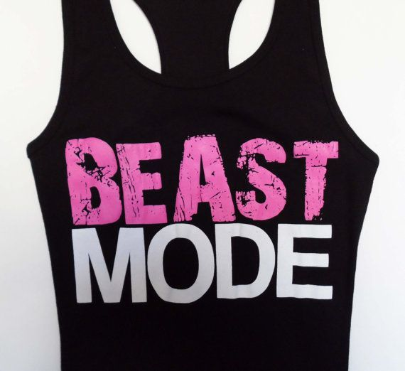 BEAST MODE Black Workout Tank Fitted, LARGE, Gym Tank Top, Fitness, Workout Clothes, Crossfit, Beast Mode On, Workout Shirt, Running on Etsy, $24.99