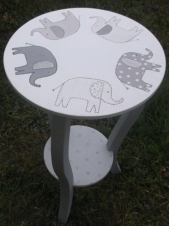 Custom Taylor ELEPHANTS  Nursery Table Gray by spoiltrottn on Etsy