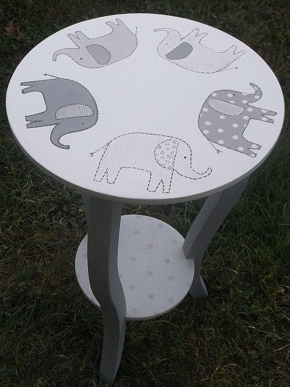 Custom Taylor ELEPHANTS  Nursery Table Gray by spoiltrottn on