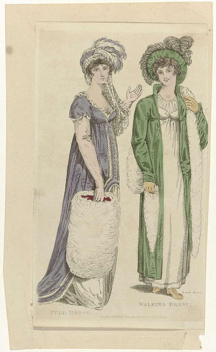 Ladies Monthly Museum, 1 january 1805 : Full Dress. Walking Dress., Robert Sands, Vernon