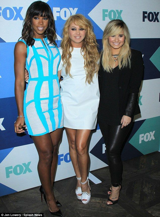 Hot new judges: Kelly Rowland, Paulina Rubio and Demi Lovato arrived in strikingly different outfits at the bash