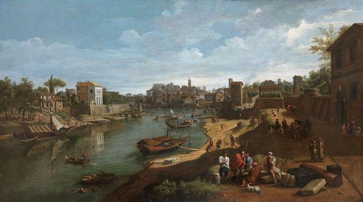Rome, vue du Tibre au port de Ripa Grande