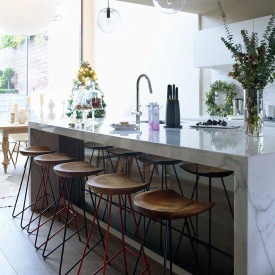 Modern kitchen with white marble island