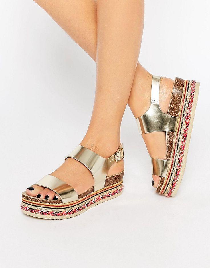 Image 1 ofCarvela Kitten Gold Leather Beaded Flatform Sandals