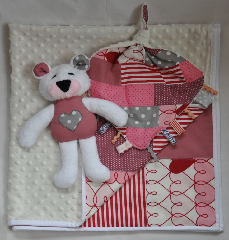 Baby blanket with a dear teddy bear and taggy toy pack, ideal for baby shower gift
