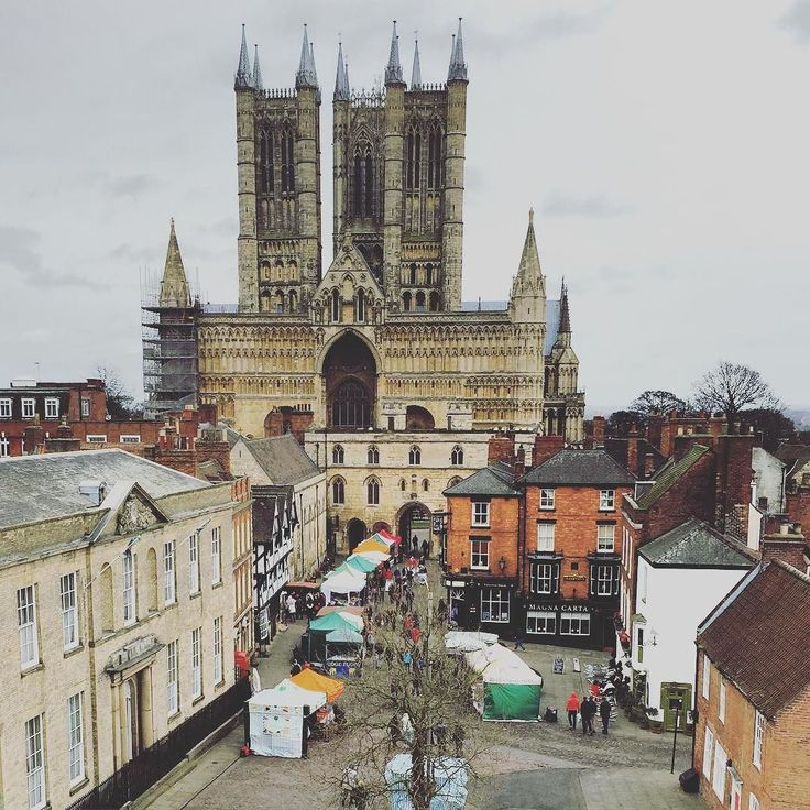 Lincoln Farmers' Market seen from the walls of Lincoln Castle today. #lovelincoln