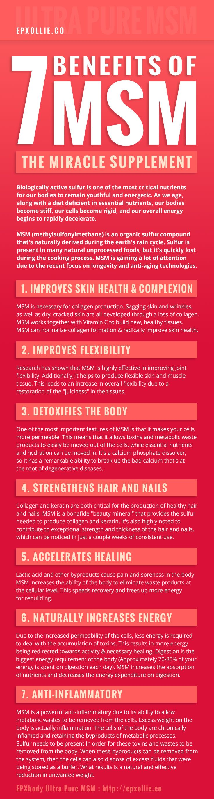 MSM Supplement Benefits - MSM improves joints, skin health, allergies, gut health, detoxifies the body, increases energy, accelerates healing, strengthens hair and nails, and is a powerful anti-inflammatory - EPXollie.co