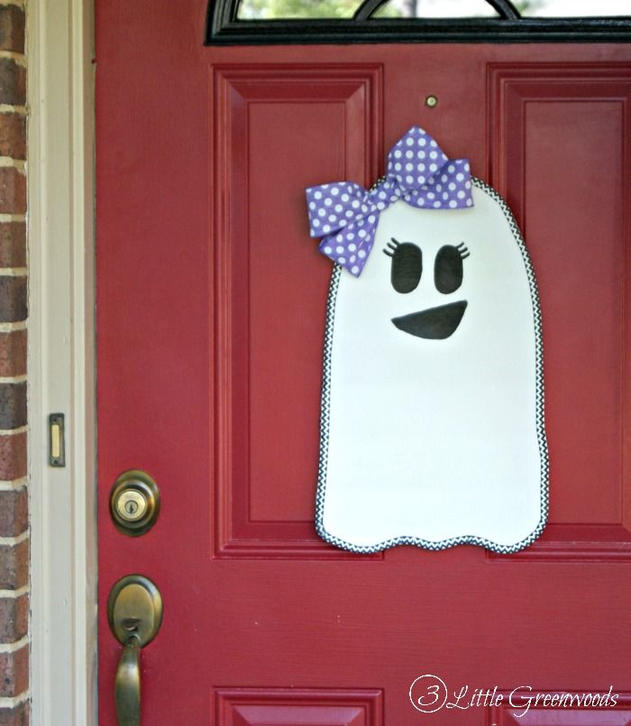 super cute and cheap to make sweet ghost girl for halloween door decorations by 3 - Cute Halloween Door Decorating Ideas