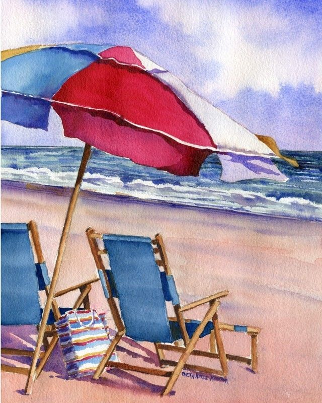 Patriotic Beach Umbrellas watercolor ____artist not identified