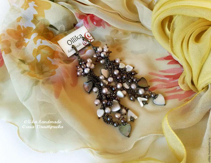 Купить Серьги Черная Орхидея, длинные серьги с жемчугом, черные жемчужные - серьги с подвесками