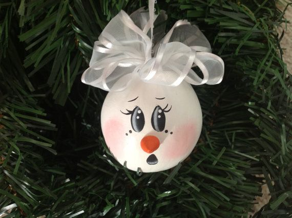 Precious Handpainted Snowman Gourd Ornament by BizzyCreations