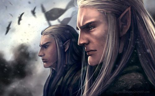 The beginning of an end. Oropher and Thranduil during the Battle of Dagorlad, before the fateful charge.