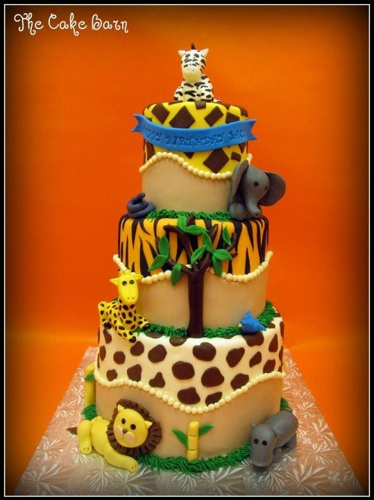 I made this adorable Safari themed cake for a special little boys birthday!