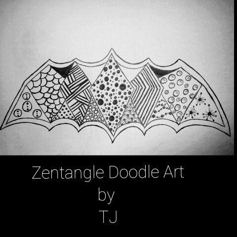 "Finished a FUN #Zentangle  ....I'll call  it ""BatZen"".  #creativeflow #doodle #art #doodleart #calm #relaxing #zentangletime #zentangleart #fun #dallas #dallaslife #art #artistry #astist #artistic #creative #zen #bat #batlike #batness #flow"