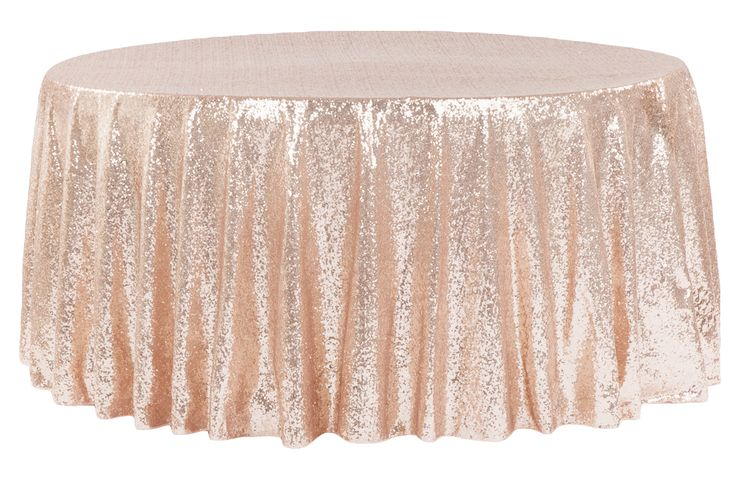 "Glitz+Sequins+120""+Round+Tablecloth+-+Blush/Rose+Gold"