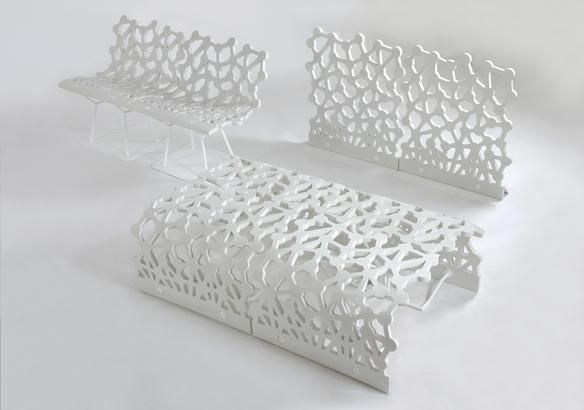 With extremely open lacework designs, these unique Ductal® benches and panels appear to be very light. Opening outwards, the panel is mounted on a stand that can be made from wood, metal or concrete and the base made from galvanized steel. L 70 x W 60 cm. Available in a variety of colors.    Design Chabaud Levêque, Studio Màss. Bench. Edition Compagnie.