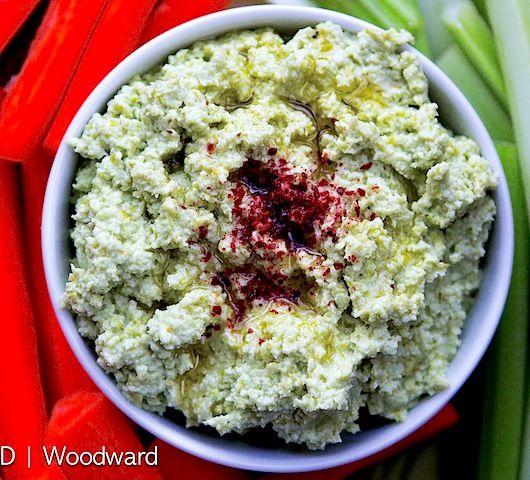 Edamame Dip Recipe Appetizers with frozen edamame beans, garlic, meyer lemon, olive oil, kosher salt, sumac, olive oil