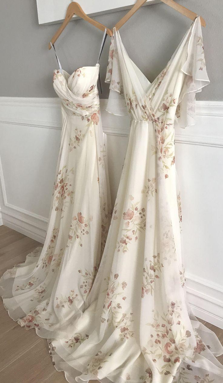 Adeline + Cassie Bridesmaid Dresses in Ivory Soft Rose Eden Bouquet