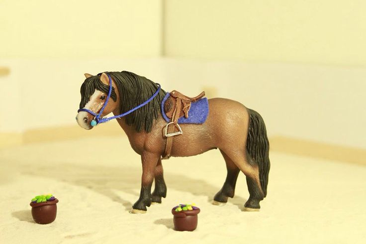 1:24 scale Dartmoor pony with tack made by me. #schleich #modelhorse #tack #ilikeschleich