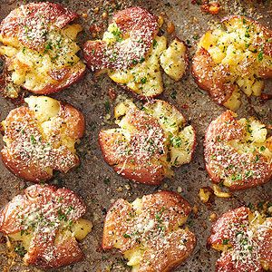 Parmesan and parsley dress up these simple smashed potatoes for a flavorful side dish. Scrub the potatoes and combine parmesan and parsley the night before to cut down on prep time.